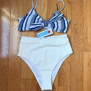 COPY - CupShe Blue & white Stripe Bikini Swimsuit.
